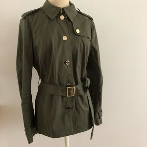 Tory Burch 12 military olive trench grace gold